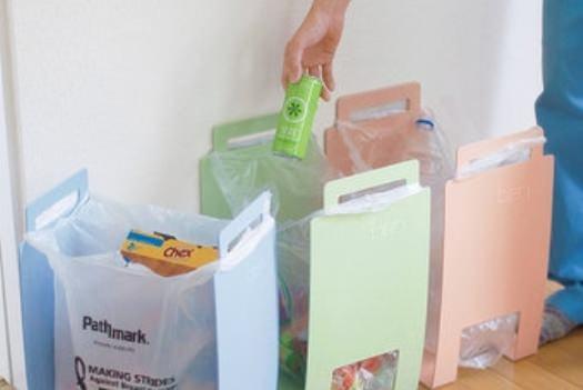 Toca Comer. Cubos para basura que usan bolsas de supermercado. Marisol Collazos Soto