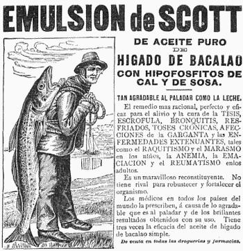 Toca Comer.  Emulsión de Scott, aceite de hígado de bacalao de hace 100 años. Marisol Collazos Soto, Rafael Barzanallana